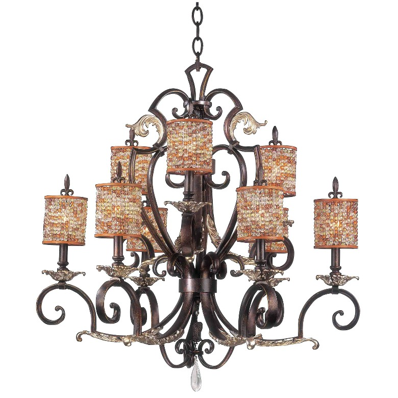 Chesapeake 9 light chandelier with beaded shade kalco for Beaded chandelier lamp shades