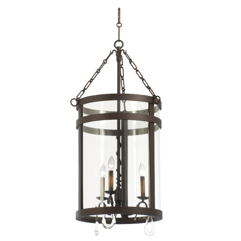 Morris 3 light foyer lantern kalco for Unique foyer chandeliers