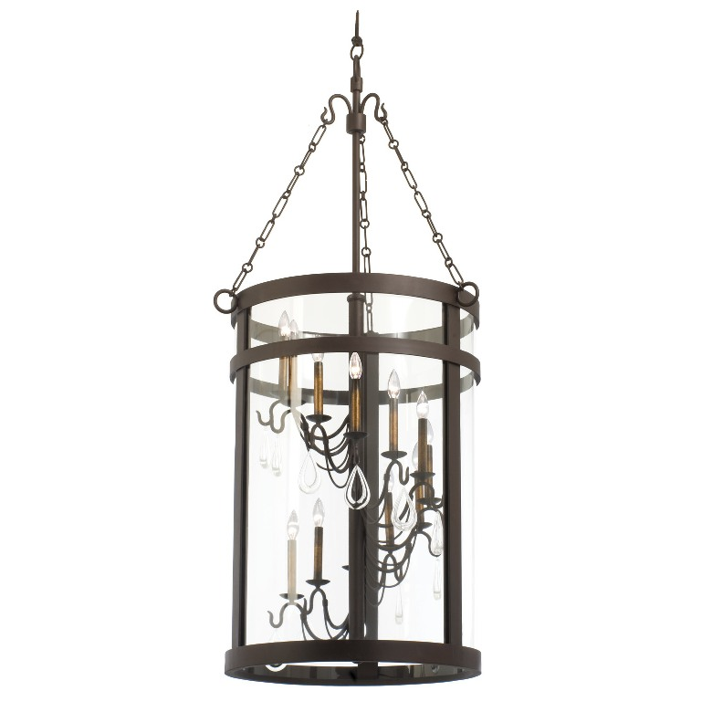 Morris 12 light foyer lantern kalco for Unique foyer chandeliers