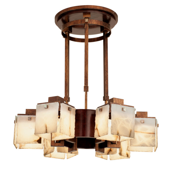 Bedford 6 Light Chandelier W Copper Patina Accents Kalco
